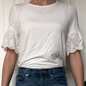 Design Lab made in USA white ruffle sleeve t-shirt